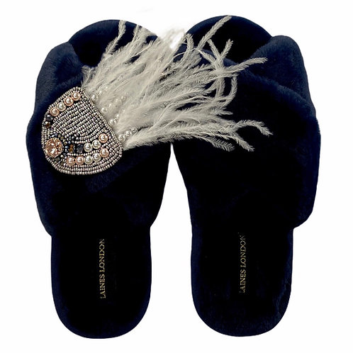 Navy Fluffy Slippers with Jellyfish