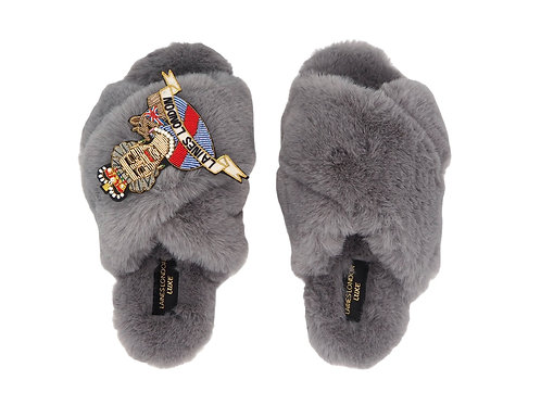 Laines Luxe Fluffy Grey Slippers With Deluxe Queen Brooch