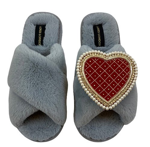 Grey Fluffy Slippers with Deluxe Red Quilted Heart Brooch