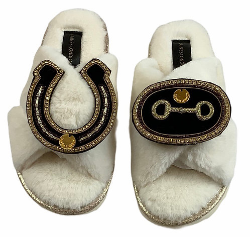 Ultralight Chic Slippers / Sliders with Deluxe Horse-Bit & Horseshoe Brooch