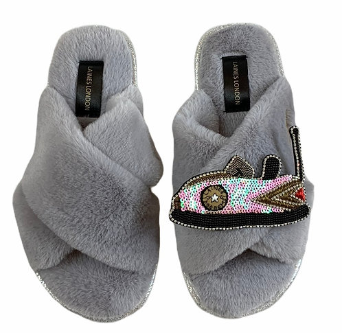 Ultralight Chic Slippers / Sliders with Premium Deluxe Dodgem Brooch