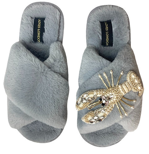 Classic Laines Slippers Pearl & Gold Lobster Brooch