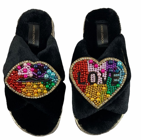 Ultralight Chic Slippers / Sliders with Double Rainbow Lips & LOVE Brooch