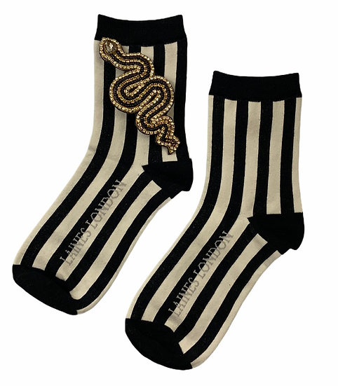 Black & Cream Stripe Cotton Socks With Artisan Black Snake Brooch