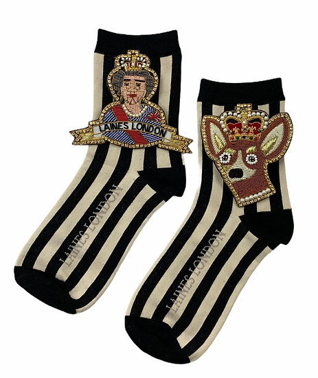 Black and Cream Stripe Socks with Double Deluxe Queen & Corgi Brooches