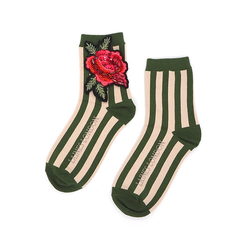 Green and Cream Stripe Cotton Socks With Rose Brooch