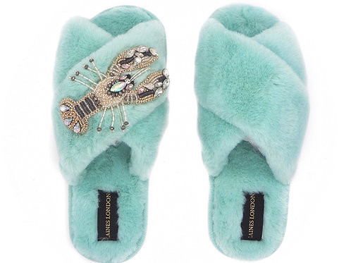 Aqua Blue Fluffy Slippers White Crystal Lobster Brooch