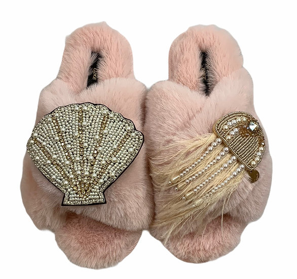 Laines Cloud Pink Slippers With Double Artisan Pearl & Gold Seashell & Jellyfish