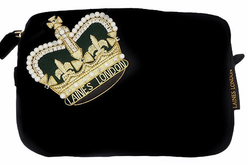 Laines London Luxe Black Velvet Bag With Deluxe Crown Brooch