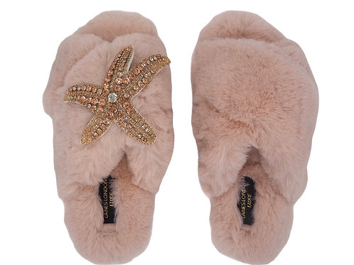 Laines Luxe Fluffy Pink Slippers With Diamanté Rose Gold Starfish  Brooch