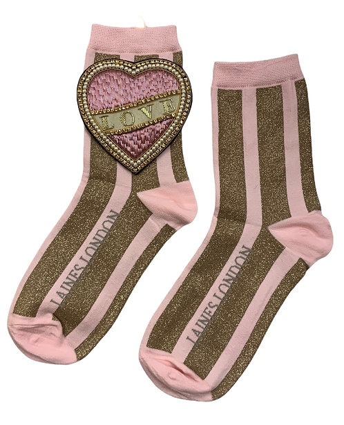 Laines London Pink & Gold Shimmer Stripe Cotton Socks With Cream Love Brooch