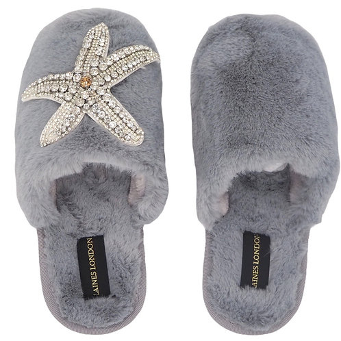 Closed Toe Grey Fluffy Slippers with Silver Starfish Brooch