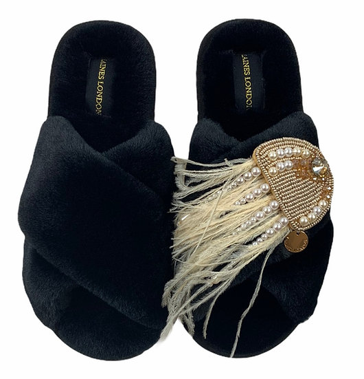 Classic Laines Fluffy Slippers with Artisan Gold Jellyfish