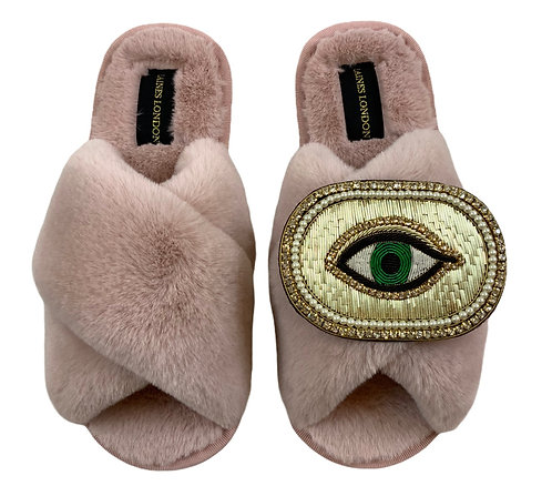 Pink Fluffy Slippers with Deluxe Golden Eye Brooch