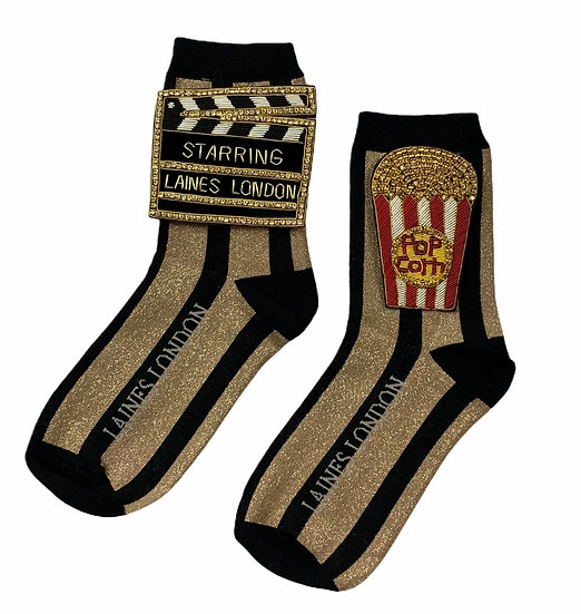 Black & Gold Stripe Socks with Double Deluxe Movie Night Brooches