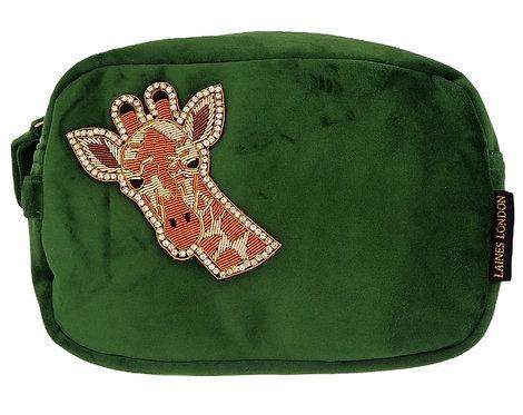 Laines London Luxe Green Velvet Bag With Deluxe Giraffe Brooch