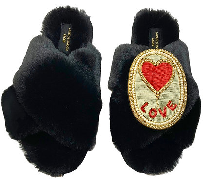 Laines Luxe Fluffy Black Slippers With Love Balloon Brooch WIDE FIT