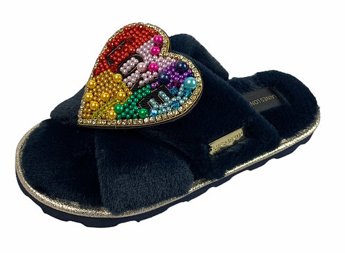 Ultralight Chic Slippers / Sliders with Deluxe Rainbow LOVE Heart Brooch