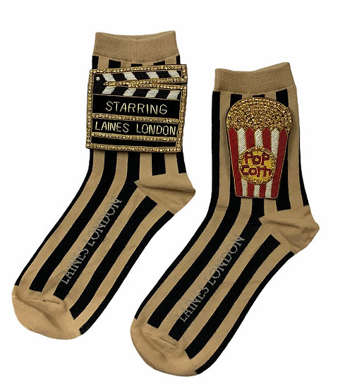 Black & Beige Stripe Cotton Socks With Double Deluxe Movie Night Brooches