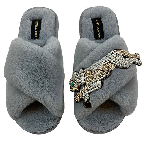 Grey Fluffy Slippers with Pearl and Gold Panther Brooch