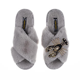 Artisan Black & Gold Lobster on Grey Classic Slippers