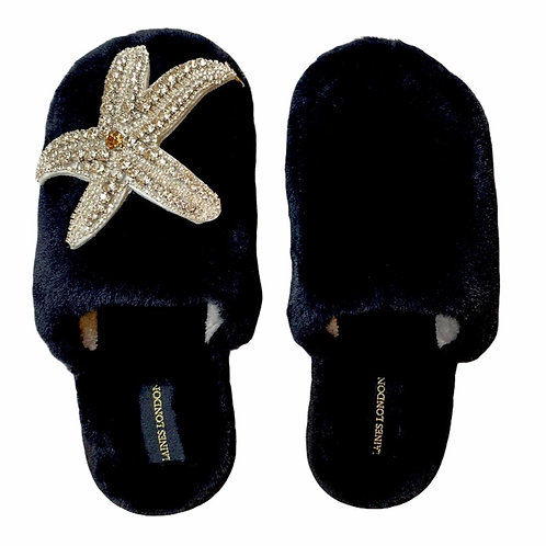 Closed Toe Black Fluffy Slippers with Silver Starfish