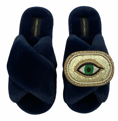 Classic Laines  Slippers with Deluxe Golden Eye Brooch