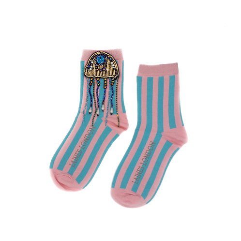 Pink and Blue Stripe Cotton Socks With Crystal Jellyfish Brooch