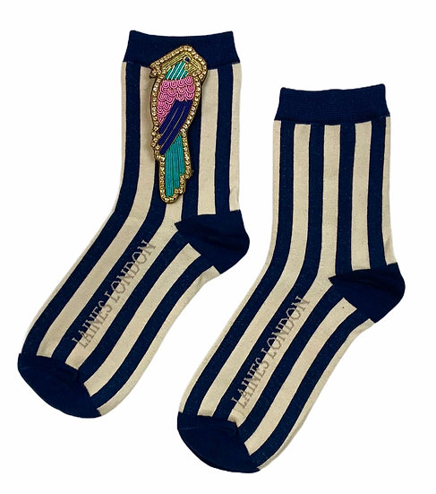 Navy & Cream Stripe Cotton Socks With Deluxe Artisan Colourful Parrot Brooch