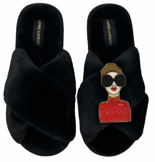Classic Laines Slippers with Premium Deluxe Glam Gal Brooch