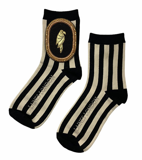 Black & Cream Stripe Cotton Socks With  Deluxe Black Parrot Brooch