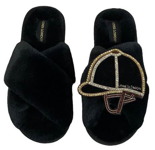 Classic Laines Slippers with Deluxe Riding Hat Brooch