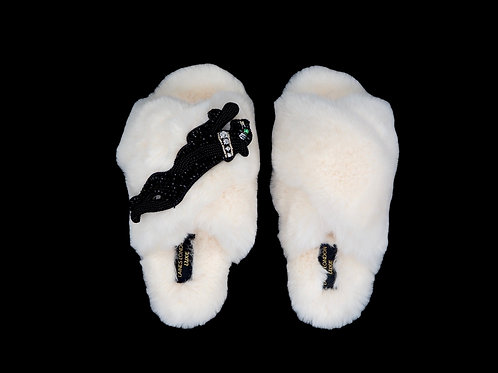 Laines Luxe Fluffy Cream Slippers With Crystal Jet Panther Brooch