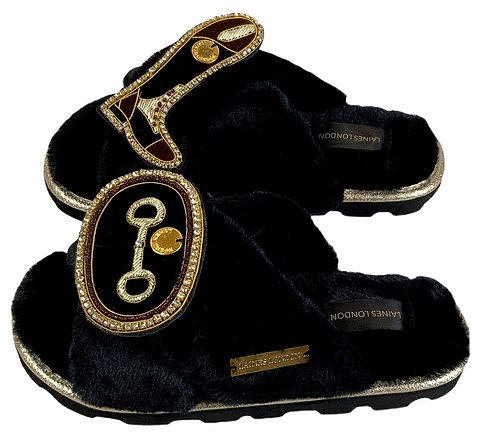 Ultralight Chic Slippers / Sliders with Deluxe Horse-Bit & Riding Boot Brooch