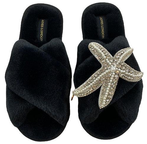 Black Fluffy Slippers Silver Starfish Brooch