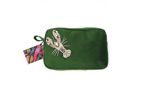 Emerald Green Velvet Bag With Crystal Lobster Brooch