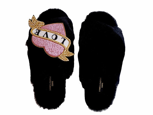 Laines Luxe Fluffy Black Slippers With Deluxe Diamanté Pink Heart Tattoo Brooch