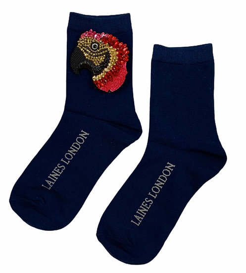 Navy Cotton Socks With Premium Deluxe Crystal McCaw Brooch