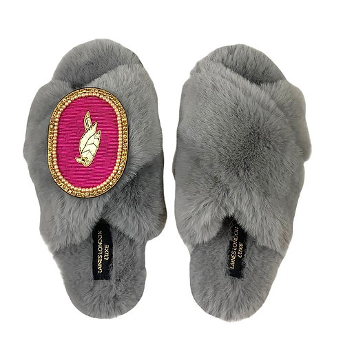 Laines Luxe Fluffy Grey Slippers With Deluxe Pink Parrot Brooch