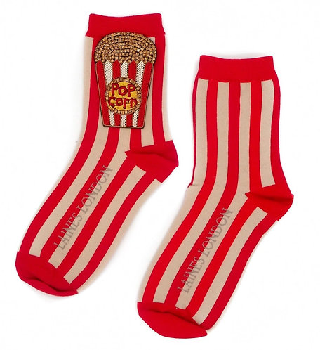 Red & Cream Stripe Cotton Socks With Bespoke Popcorn Brooch
