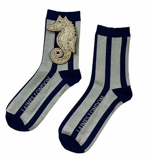 Navy & Silver Shimmer Stripe Socks With Deluxe Artisan Silver Seahorse