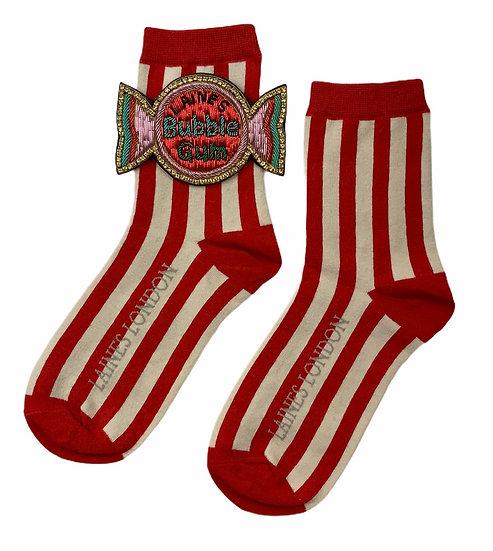 Red & Cream Stripe Cotton Socks With Bubblegum Brooch