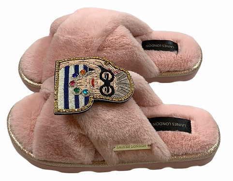 Ultralight Chic  Slippers / Sliders with Deluxe Fashion Icon Brooch