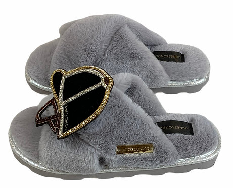 Ultralight Chic Slippers / Sliders with Deluxe Riding Hat Brooch
