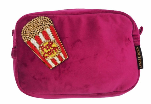Laines London Luxe Bright Pink Velvet Bag With Deluxe Popcorn Brooch