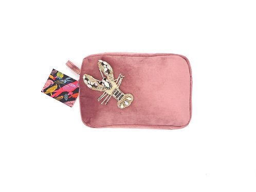 Pink Velvet Bag With Crystal Lobster Brooch
