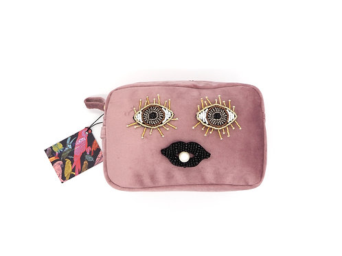 Blush Pink Velvet Bag With Beaded Eyes & Lips Brooch (Limited Edition)