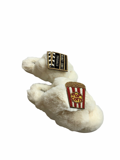 Laines Luxe Fluffy Cream Slippers With Double Movie night Brooch