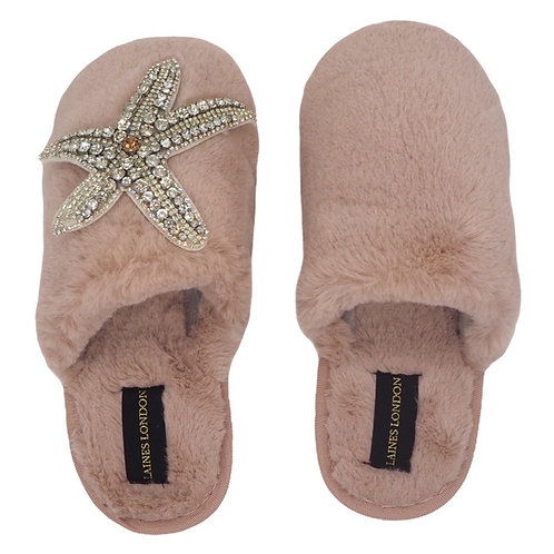 Closed Toe Pink Fluffy Slippers with Silver Starfish Brooch