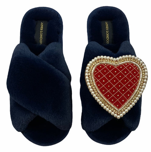 Classic Laines Slippers with Deluxe Red Quilted Heart Brooch
